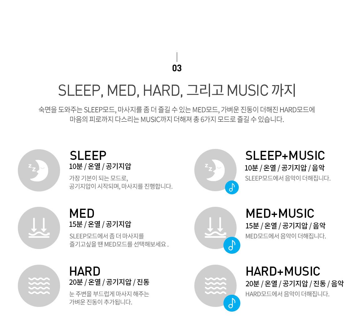 03. SLEEP, MED, HARD, 그리고 MUSIC까지 : SLEEP(10분/온열/공기지압), SLEEP+MUSIC(10분/온열/공기지압/음악), MED(15분/온열/공기지압), MED(15분/온열/공기지압/음악), HARD(20분/온열/공기지압/진동), HARD+MUSIC(20분/온열/공기지압/진동/음악)