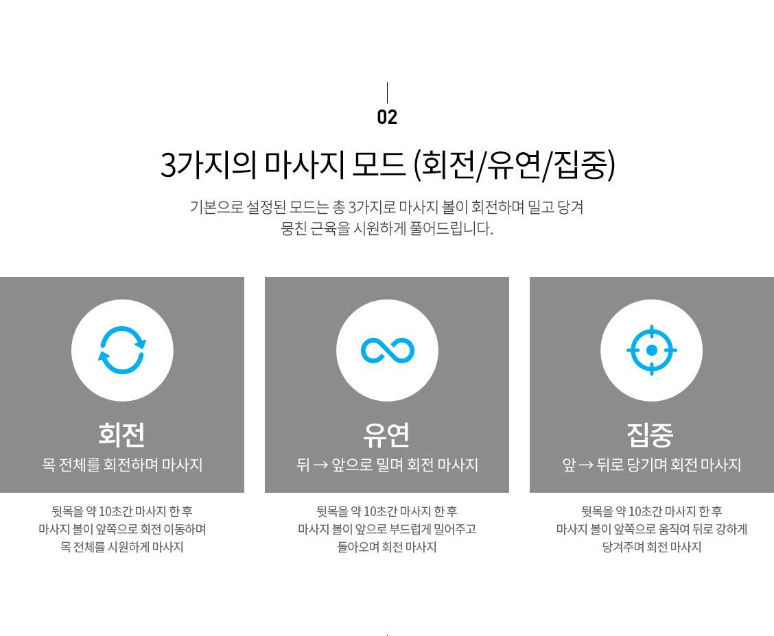 02. 3가지의 마사지 모드(회원/유연/집중)