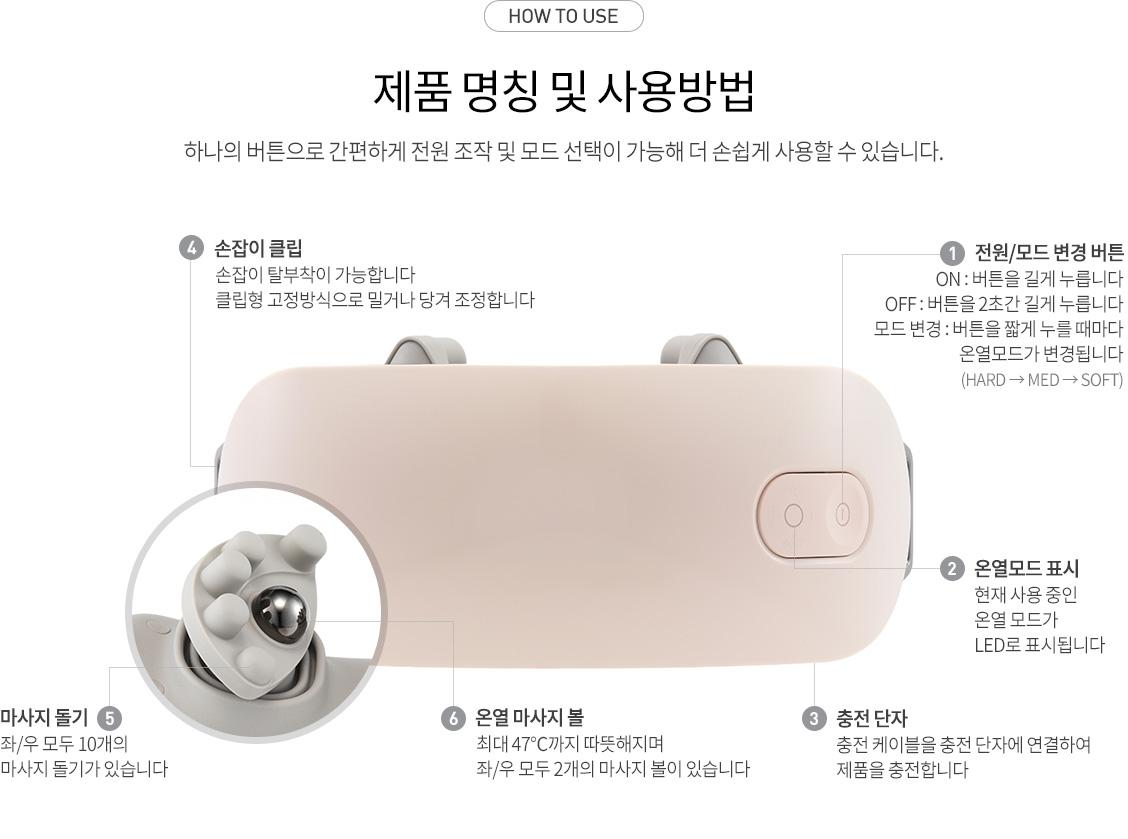 HOW TO USE - 제품 명칭 및 사용방법 : 전원/모드 변경 버튼, 온열모드 표시, 충전 단지, 손잡이 클립, 마사지 돌기, 온열 마사지 볼